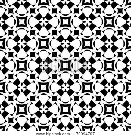Vector monochrome seamless pattern. Abstract ornamental texture repeat geometric tiles. Black & white endless background specular visual effect. Design element for prints decoration digital web