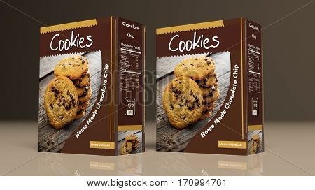 Chocolate cookies paper packages on colored background. 3d illustration