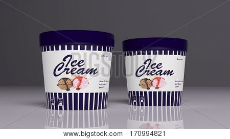 Ice Cream container on colored background. 3d illustration