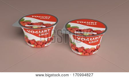 Strawberry Yogurt plastic cup packaging on colored background. 3d illustration