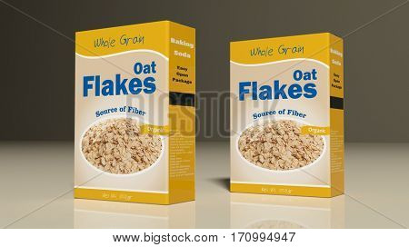 Oat flakes paper packages on colored background. 3d illustration