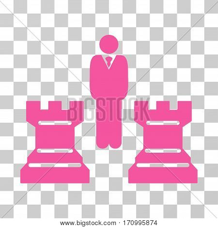 Strategy Chess Towers icon. Vector illustration style is flat iconic symbol pink color transparent background. Designed for web and software interfaces.