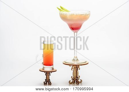 Cocktails: Sex On The Beach And Margarita On Decorative Tables