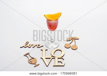 Alcohol Coctail Singapore Sling With Love Inscriptions