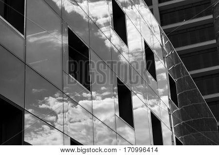 BARCELONA, SPAIN - JULY 11, 2016: Barcelona (Catalunya Spain): modern building in the Avinguda del Paral-lel. Black and white
