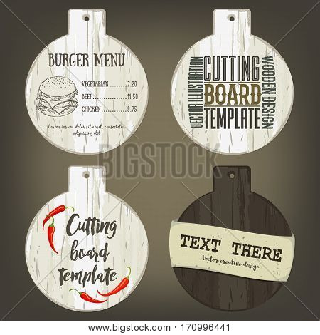 Hand drawn round cutting board mockup with handle and usage examples. Vector illustration with old textured plank used as template for label, logo, card, poster, advertising bar or pizzeria menu.