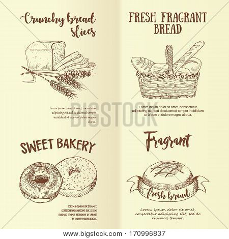 Set of hand drawn graphic bread labels. Vector realistic baking emblems designed for advertising bakery, booklet, handbill, poster, logo and packing design.