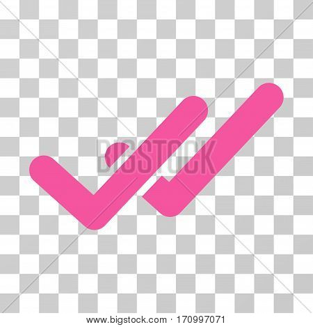 Validation icon. Vector illustration style is flat iconic symbol pink color transparent background. Designed for web and software interfaces.