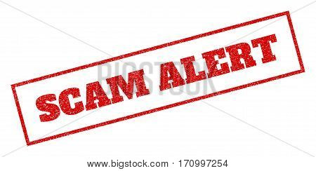 Red rubber seal stamp with Scam Alert text. Vector caption inside rectangular banner. Grunge design and unclean texture for watermark labels. Inclined emblem.