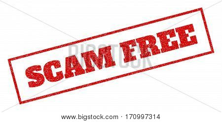 Red rubber seal stamp with Scam Free text. Vector message inside rectangular banner. Grunge design and unclean texture for watermark labels. Inclined sign.