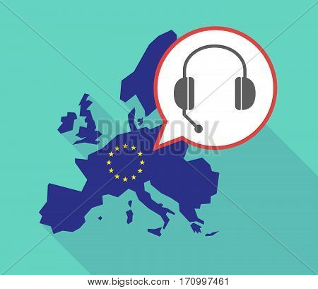 Long Shadow Eu Map With  A Hands Free Phone Device
