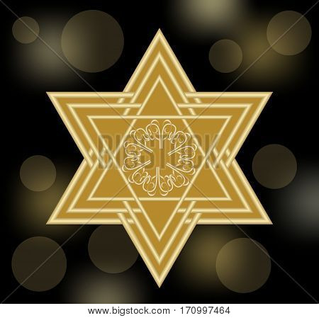 David star in gold design. Star of David on black bokeh background with soft lights. Abstract decoration with jewish symbol.