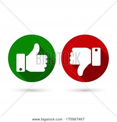 Thumb up thumb down circle icon green and red sillouettes. Vector evaluation symbol.