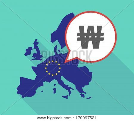 Long Shadow Eu Map With A Won Currency Sign