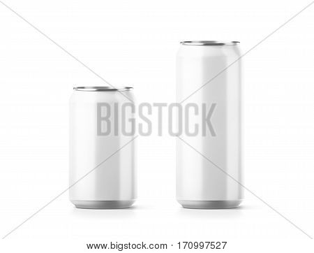 Blank small and big aluminium soda can mockup 3d rendering. Empty beer tin packing mock ups set isolated. Canned drink jar packaging design template. Plain fizzy pop bank package branding.