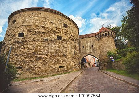 Great Coastal Gate, The Estonian Maritime Museum and Fat Margaret Tower in Old Tallinn, Estonia.