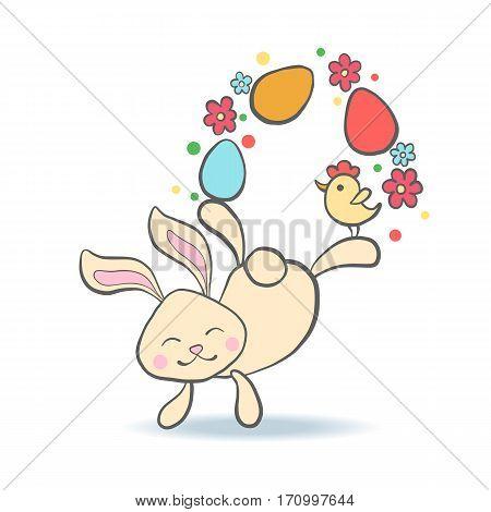 Cute Easter Bunny with eggs carrot chicken and flowers for baby shower or easter card. Cartoon Rabbit isolated on white. Vector illustration