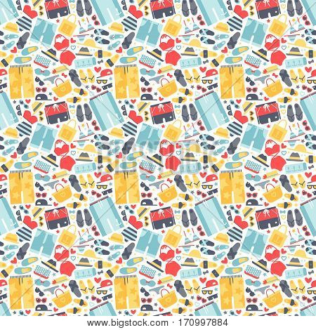 Summertime accessories seamless pattern. Different summer human clothes and beach accessory. Travel surfer party wallpaper sunbathing cloth collection vector.