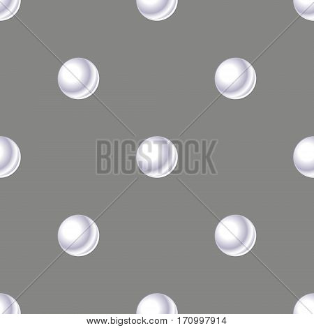 Seamless pattern with pearl White pearl on grey background.