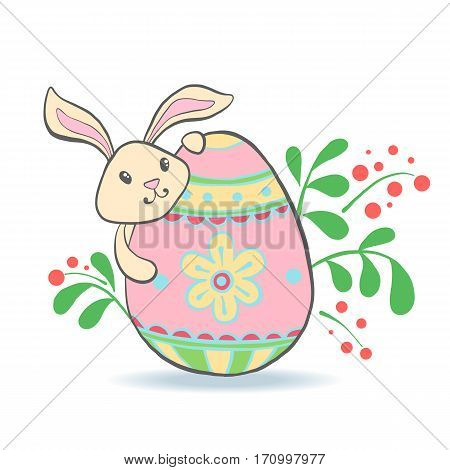 Cute Easter Bunny with eggs and flowers for baby shower or easter card. Cartoon Rabbit isolated on white. Vector illustration