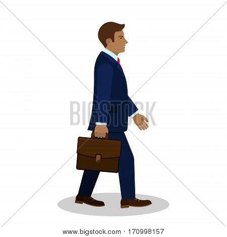 Walking businessman with briefcase side view vector.