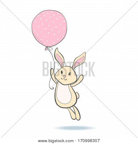 Cute happy bunny flying on pink balloon. Rabbit isolated on white background. Design element for baby shower or birthday card. Vector illustration.