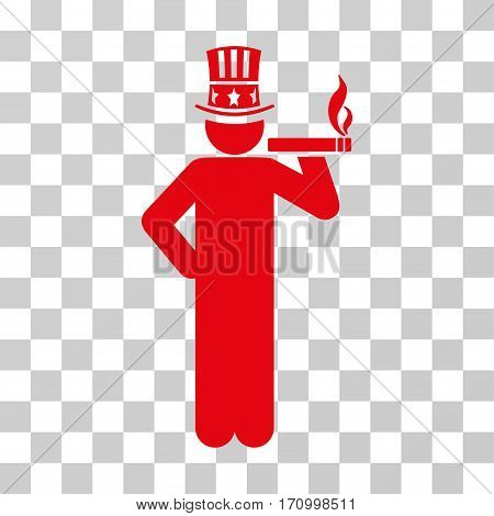 Capitalist icon. Vector illustration style is flat iconic symbol red color transparent background. Designed for web and software interfaces.