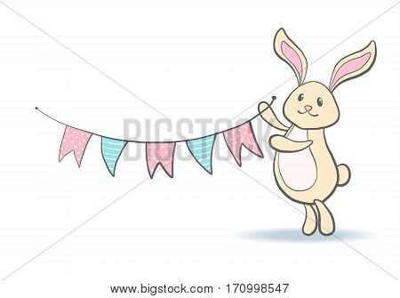 Cute hand drawn bunny with flags for baby shower or easter card. Cartoon Rabbit isolated on white. Vector illustration.
