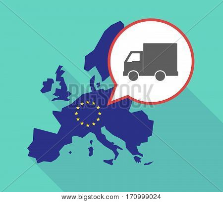 Long Shadow Eu Map With A  Delivery Truck
