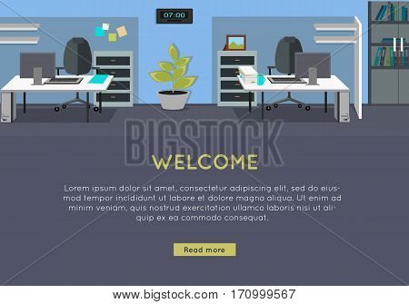 Welcome vector concept. Flat style. Office with workplace, sofa, bonsai, rack with documents. Comfortable place for work. Illustration of modern business apartments design