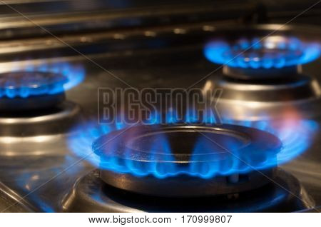 Flame from a stove, gas hob cooker, energy concept