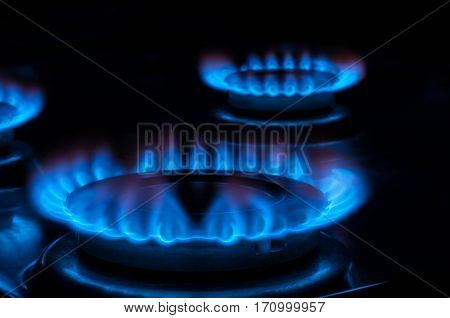 Flame from a gas stove, hob cooker, energy concept