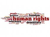 Concept or conceptual human rights political freedom or democracy abstract word cloud isolated on background metaphor to humanity world tolerance, law principles, people justice discrimination poster