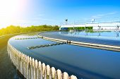 Modern urban wastewater treatment plant. Close-up view poster
