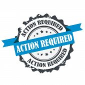 Action required stamp.Sign.Symbol logo isolated on white poster