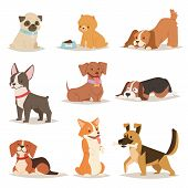 Funny cartoon dogs characters different breads illustration. in cartoon style. Funny happy puppy isolated friendly mammal. Domestic element group flat comic canine. poster