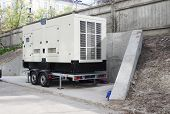 Commercial backup generator.Industrial Diesel Generator. Standby generator. Industrial Diesel Generator for Office Building. Backup Generator Power. poster