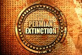 permian extinction, 3D rendering, text on metal poster