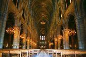 Notre Dame de Paris carhedral interior nav poster