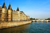 la Conciergerie Paris la seine  riverside france Pont Neu poster