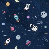 Vector flat space seamless pattern background. Cute color template with Astronaut Spaceship Rocket Moon Black Hole Stars in Outer space poster