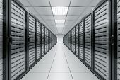 3d rendering of a server room with black servers t-shirt