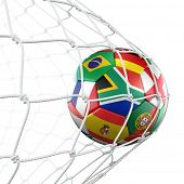 3d rendering of a soccer ball in a net with flags of the participating countries in world cup 2010 poster