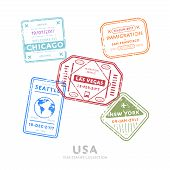 Usa travel visa stamps vector isolated on white background. Arrivals sign rubber stamps. Chicago, San Francisco, Las Vegas, New York, Seattle cities sign. Visa stamps collection. Realistic visa stamps with different place. poster
