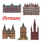 German tourist sights thin line icon set. Castle Gottesaue, Town Hall, Holsten Gate, hotel in water tower Wasserturm and lutheran church Marktkirche for travel landmarks design poster