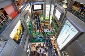 Bangkok, Thailand - June 05, 2012: Interior design in center of MBK Center Shopping Mall, in Siam Square area, with many tourist
