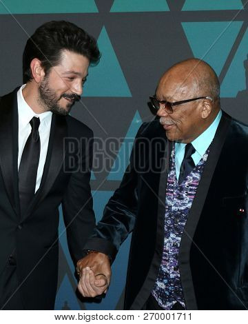 LOS ANGELES - NOV 18:  Diego Luna, Quincy Jones at the 10th Annual Governors Awards at the Ray Dolby Ballroom on November 18, 2018 in Los Angeles, CA