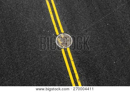 Yellow Double Solid Line With The Hatch Cover. Road Markings On Asphalt On The Street Of Manhattan I