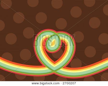 Retro Pop Rainbow Line Loopy Heart And Polka Dots (Vector)