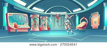 Vector Cartoon Background Anabiosis Room With Hibernation Cameras, Medic Robot To Control Sleep Of A